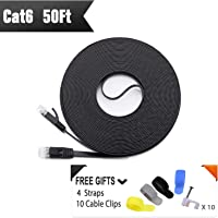 Cat 6 Ethernet Cable 50ft Black (At a Cat5e Price but Higher Bandwidth) Flat Internet Network Cables - Cat6 Ethernet Patch Cable Short - Cat6 Computer Lan Cable With Snagless RJ45 Connectors