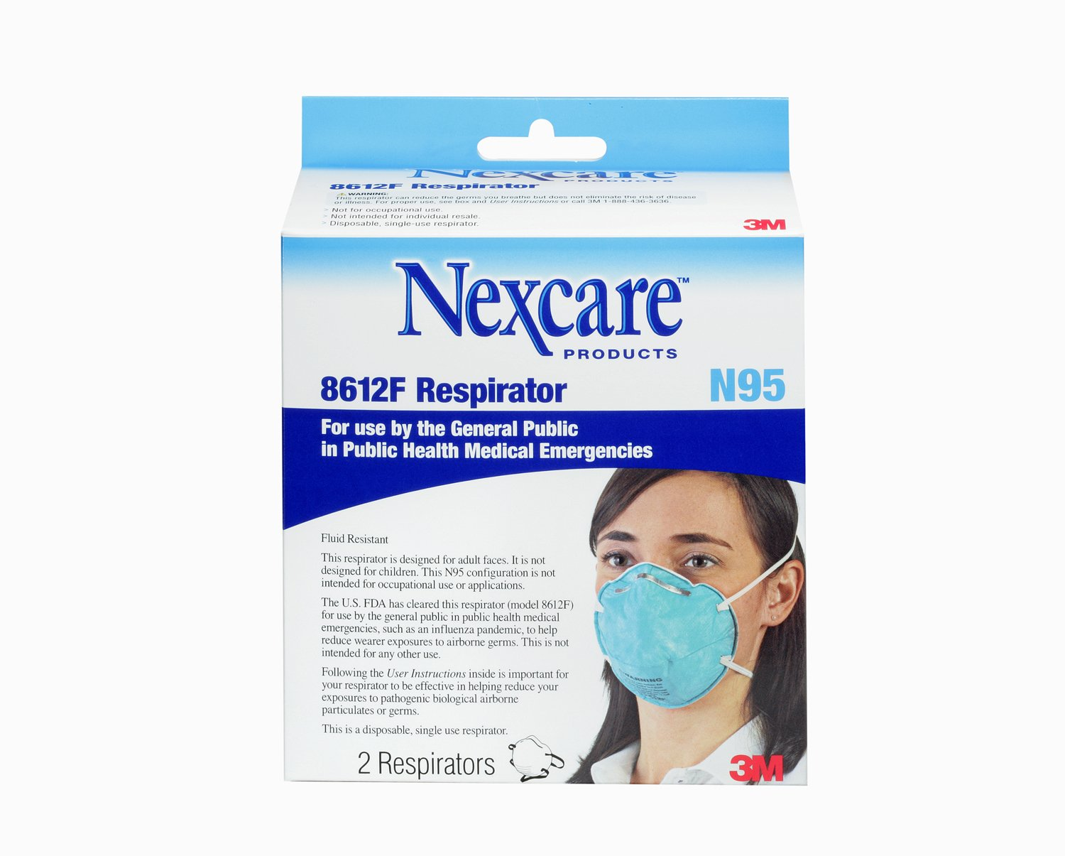 Nexcare Particulate Respirator 8612F - FDA Approved, 2-Count (Pack of 2)