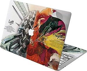 "Cavka Vinyl Decal Skin for Apple MacBook Pro 13"" 2019 15"" 2018 Air 13"" 2020 Retina 2015 Mac 11"" Mac 12"" Left Cover Right Men Protective Sticker Red Print Hemispheres Art Unique Laptop Brain Design"