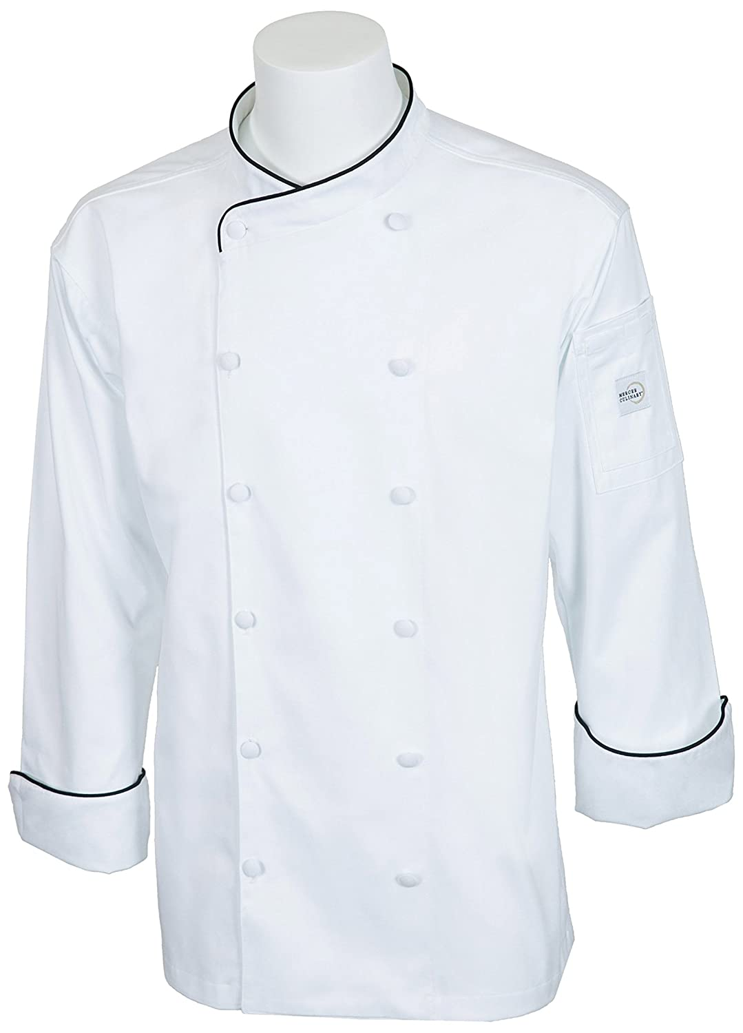 Mercer Culinary M62020WBL Renaissance Men's Scoop Neck Jacket with Black Piping, Large, White