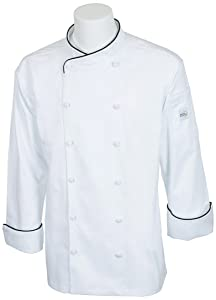 Mercer Culinary M62020WBL Renaissance Men's Scoop Neck Chef Jacket, Large, White with Black Piping