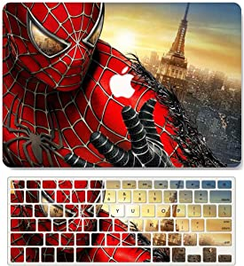 AQYLQ MacBook Air 13 Inch Case with Keyboard Cover Skin, Model A1369/A1466, Old Version, Release 2010-2017, Matte Plastic Laptop Hard Shell Case Cover, 125 Spiderman