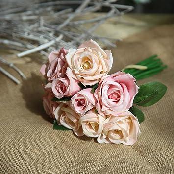 Doxmal Neun Rosen Deko Blumen Kunstliche Blumen Deko Garten Vintage