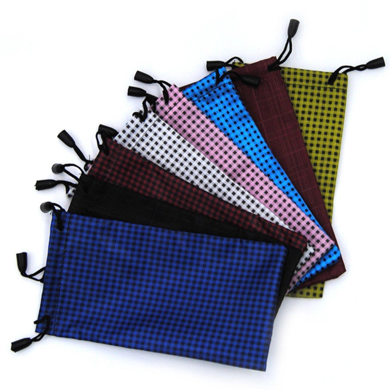 WeiMay 10 pcs Sunglasses / Glasses / Shavers Storage Bag Pouch - Microfiber Drawstring Cleaning Storage Bag Case, Random Color