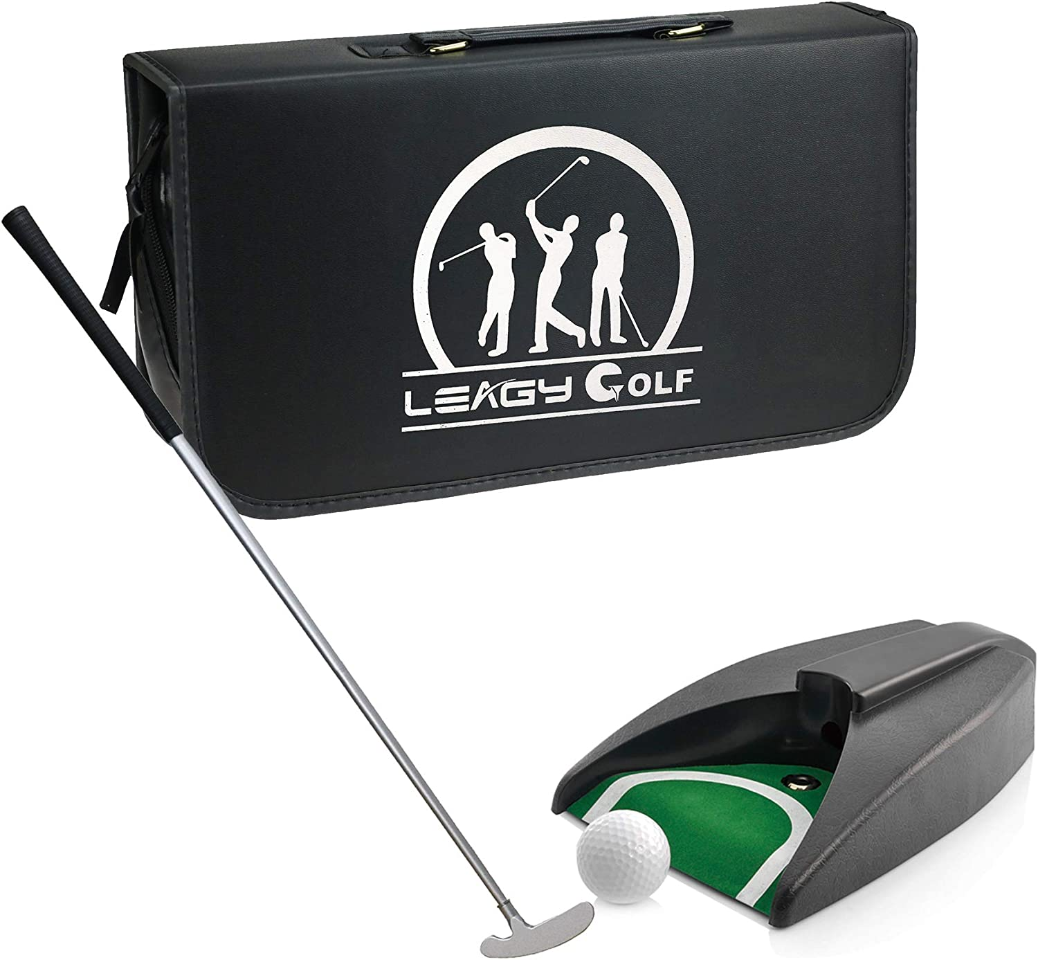 LEAGY Portable Golf Putter Travel Practice Putting Set with Case Indoor Outdoor Yard, Golfer Kids Toy Indoor Golf Games Set, Ball Return System Zink Alloy Putter Best Gift Executive Office Putter Set