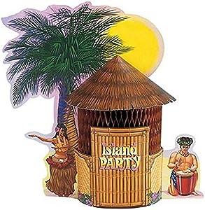 Creative Converting Honeycomb Centerpiece, Luau Tiki Hut , one size -,261713