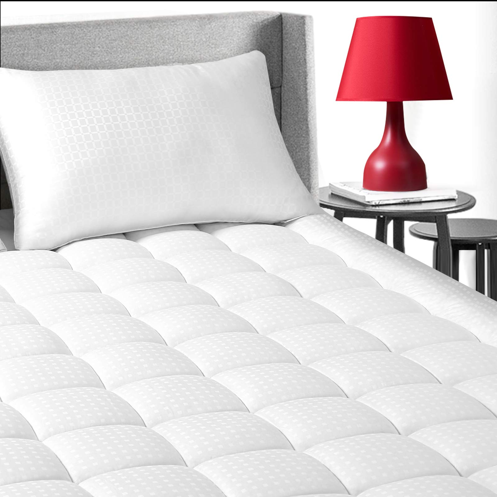 "EDILLY Twin Size Cooling Mattress Topper, Premium Hotel Quality Mattress Pad Cover, Protector for Bed Cotton Top Pillow Top Ultra Soft Overfilled with 8-21"" Deep Pocket Luxury"