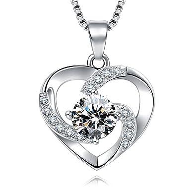 Pendentif Swarovski pour femme en argent en forme de cœur et pierre cristal