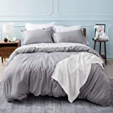 Bedsure Duvet Covers King Size Grey - Duvet Cover King Set Bedding Comforter Cover with Corner Ties Zipper Closure 104x90 Inc