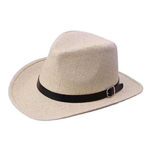 583b537b9e23f TONSEE Summer Men Straw Hat Cowboy Hat (Brown) at Amazon Men s ...