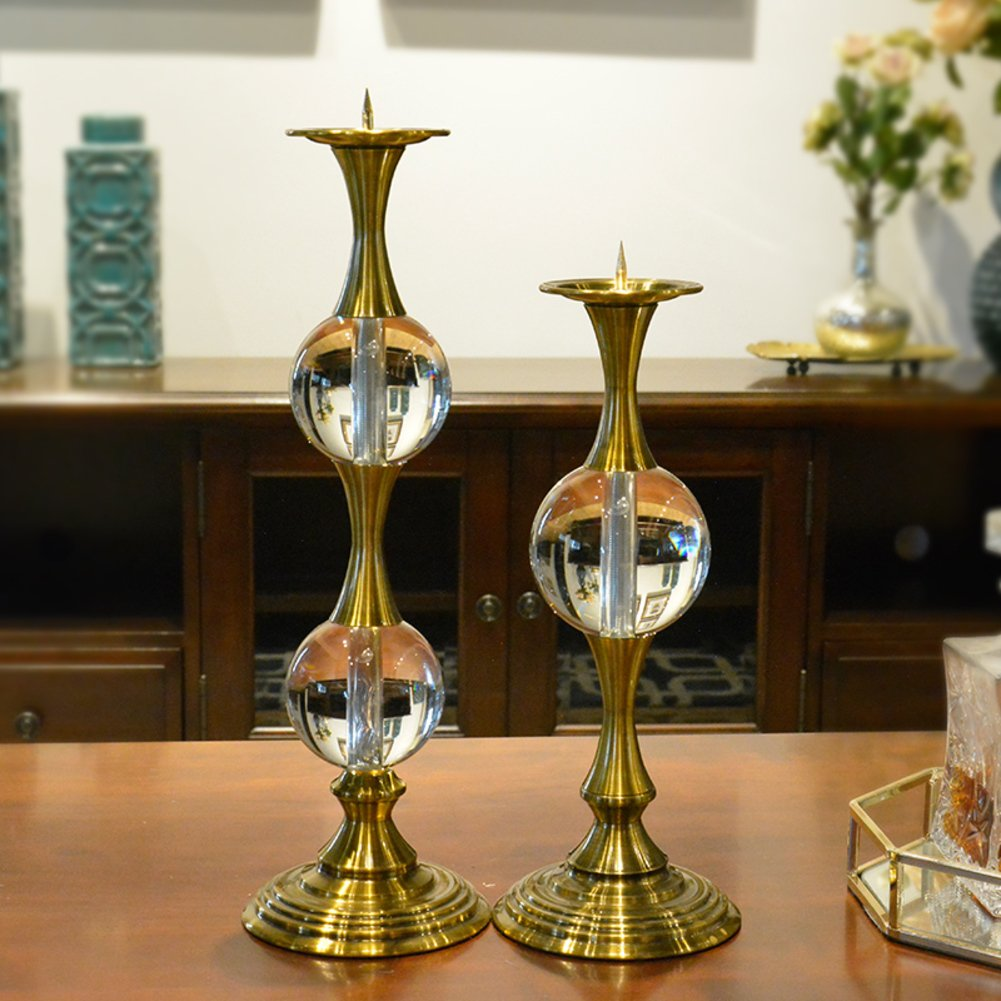 Candle holders,Candlestick holder Crystal candlestick Retro Gold Home decoration Creative wedding ornaments-A