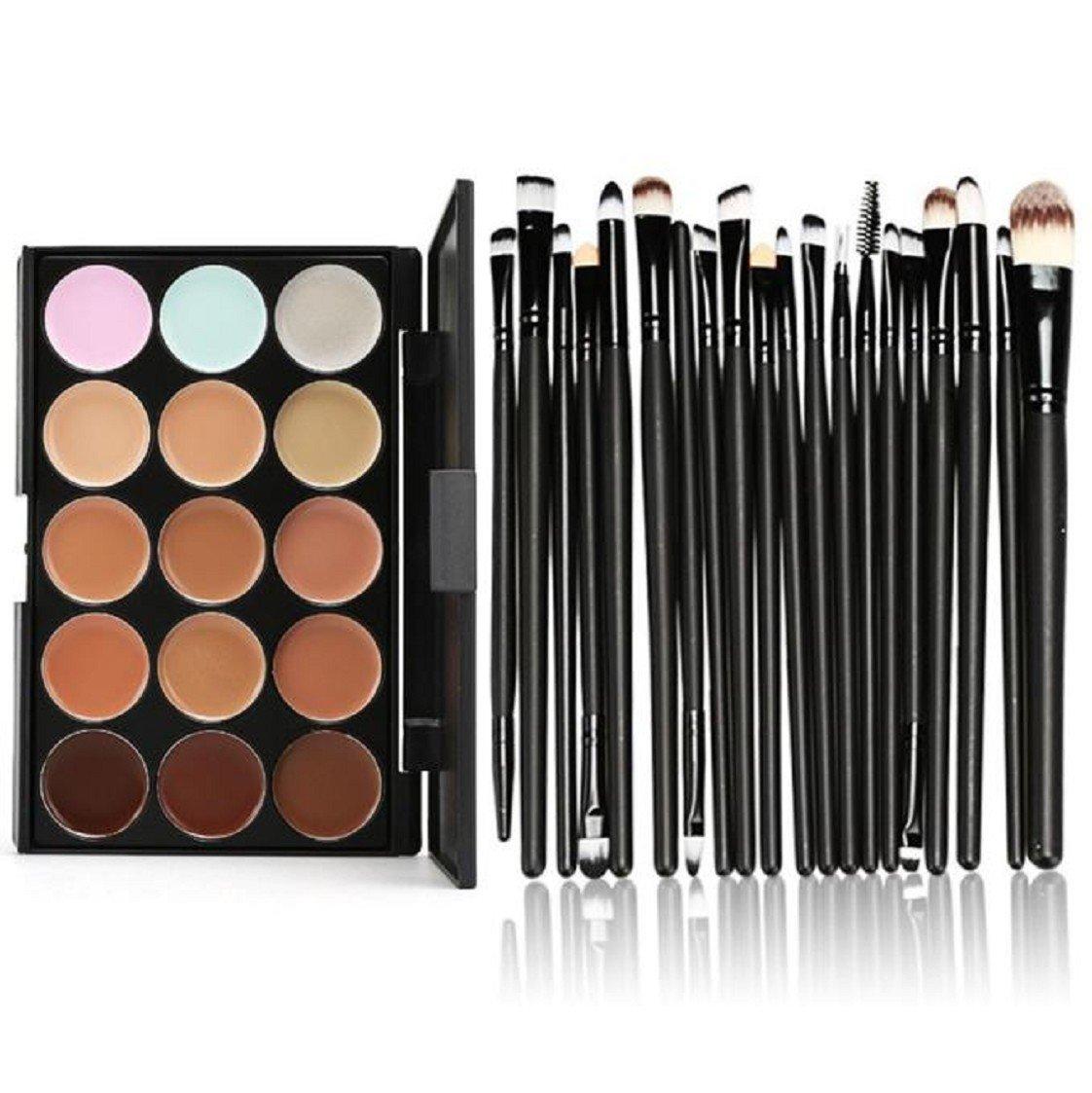 Vovotrade 15 Farben-Form-Gesichts-Creme Make-up Concealer Palette Professional + 20 Pinsel_Schwarz Vovotrade®