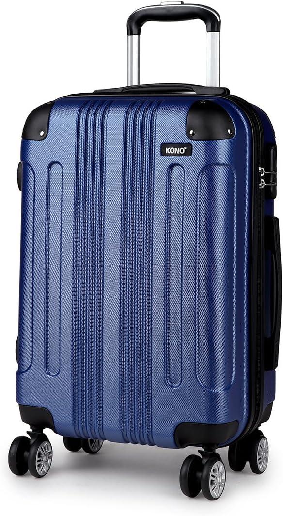 Kono Maleta para Equipaje de Mano,Trolley de ABS con 4 Ruedas (M,Azul)