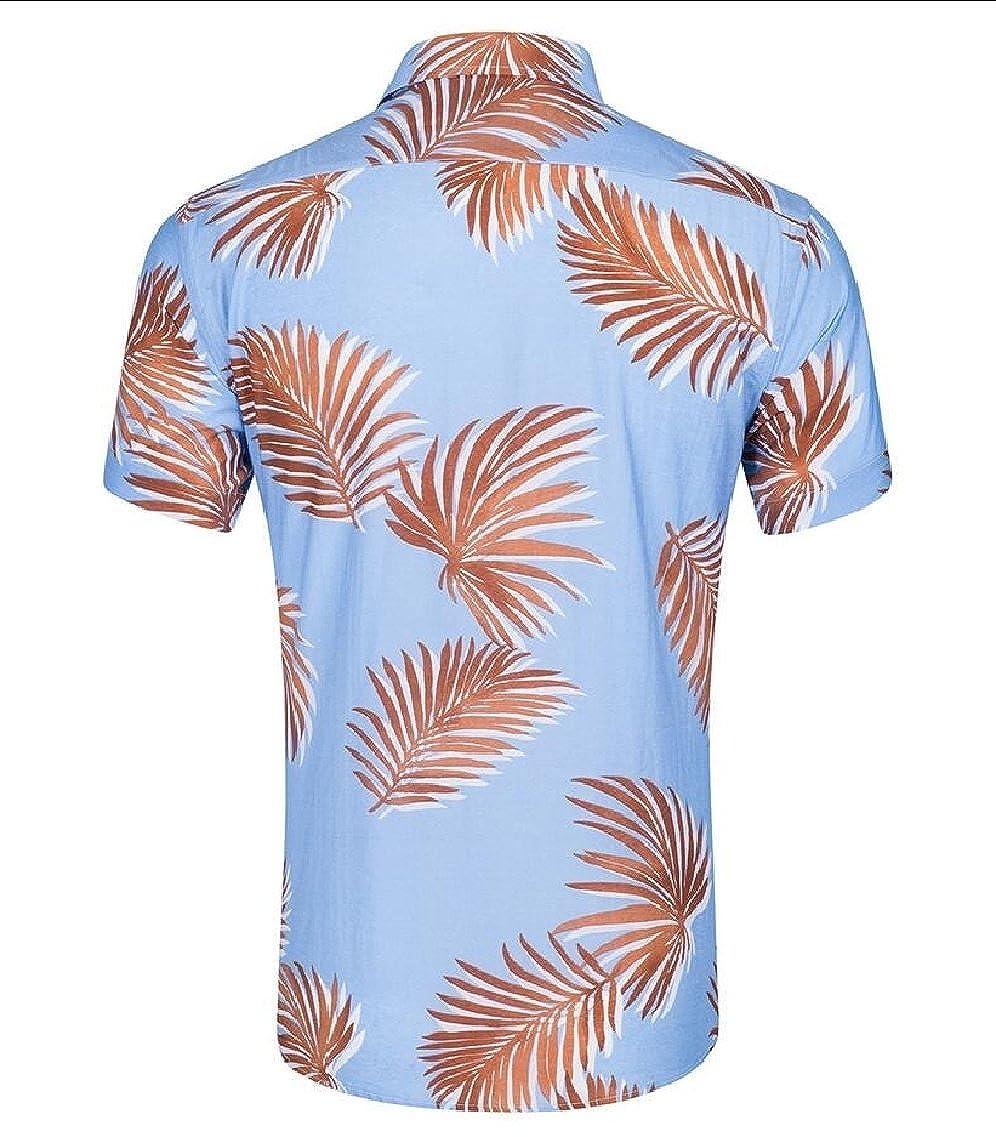Hilization Men Lapel Digital Print Flower Shirt Short Sleeve Beachwear Dress Shirt