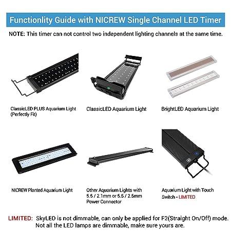 NICREW Temporizador de Acuario, Luz de Acuario Temporizador para Acuarios Temporizador Digital para Rampa LED de Acuario, Temporizador de Control de ...