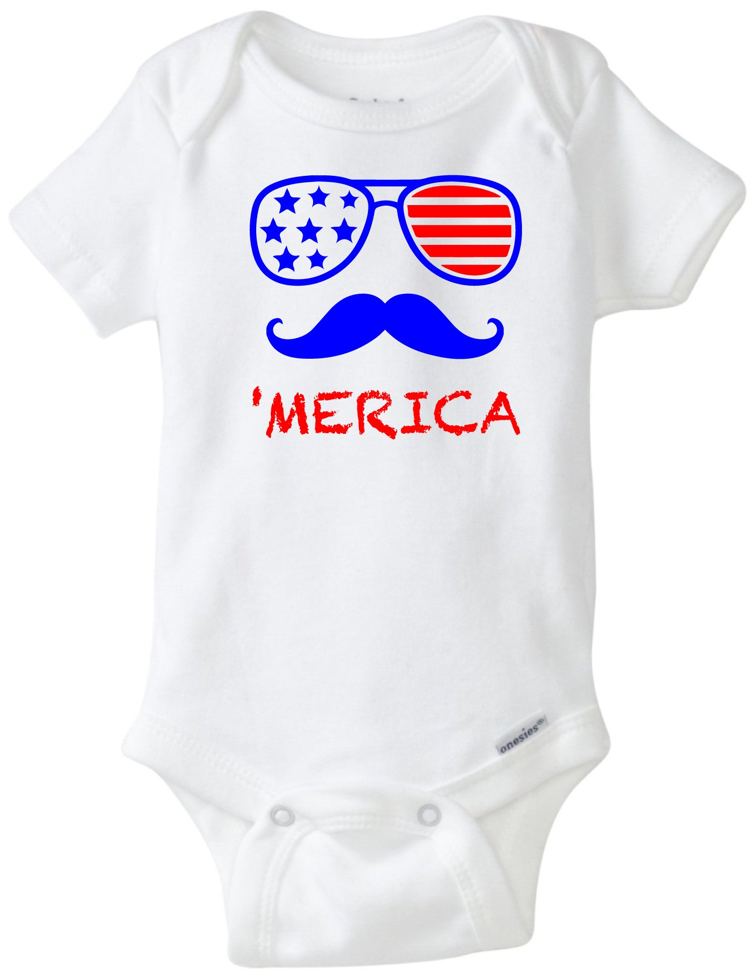 Mustache 'Merica Sunglasses Patriotic 4th of July Funny Baby Onesie Blakenreag Baby Boy Girl Clothes Bodysuit (18 Month)