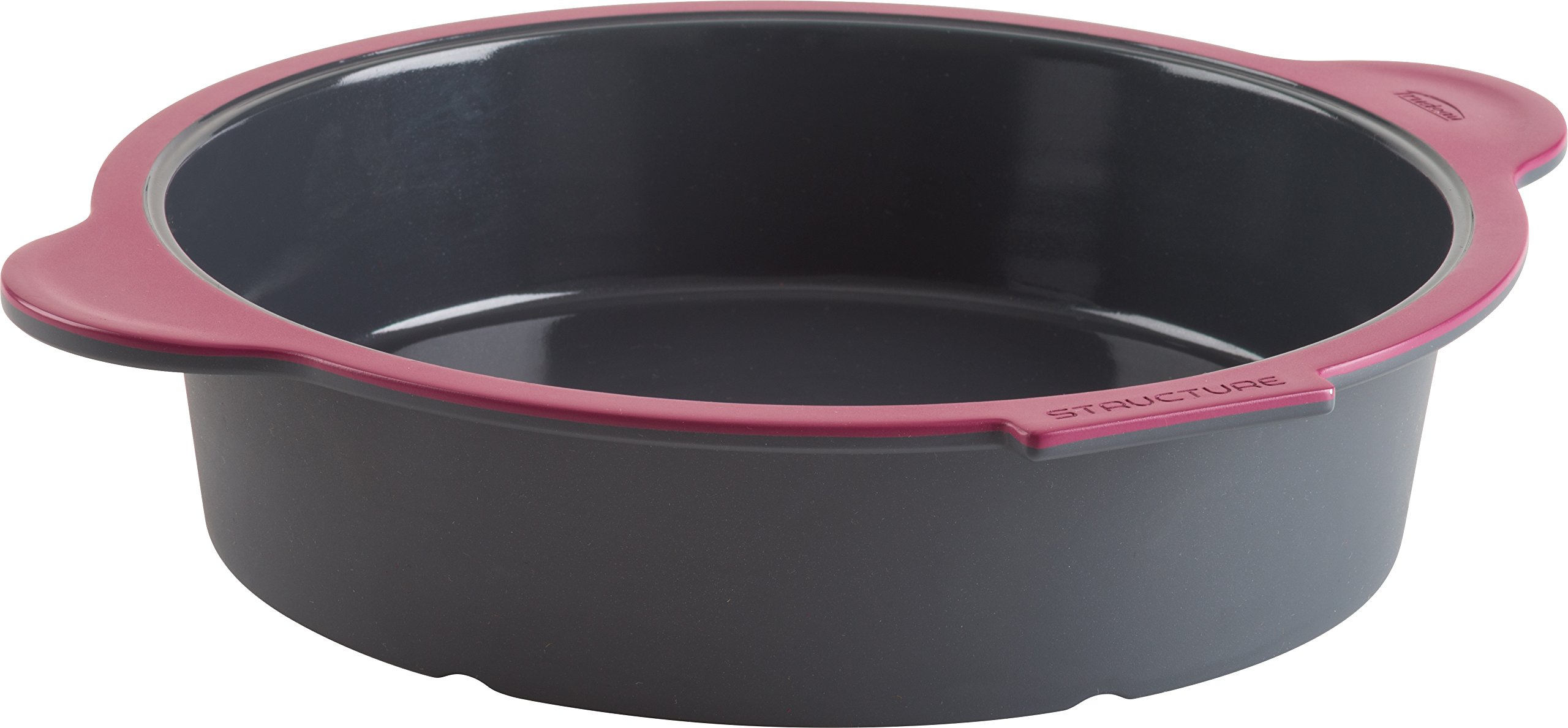 Trudeau 09914011 Structure Round Cake Pan in Silicone, Grey/Pink
