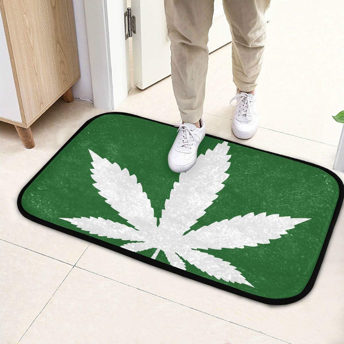 Alfombrilla para puerta Icono de hoja de marihuana Icono de cannabis Alfombra de piso de vector para niñas 23.6x15.7 pulgadas (60x40cm) microfibra Lavable para jardín Oficina Cocina Comedor Comedor D