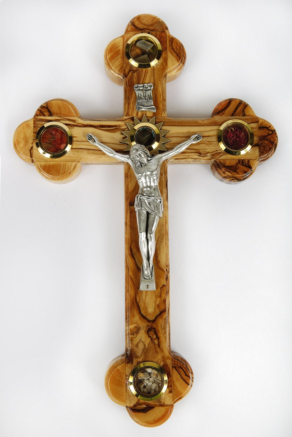 Olive Wood Crucifix / Wall Cross adorned with olive leaves, frankincense, flowers and stones from Jerusalem Hand Crafted by Artisans in Bethlehem (the heart of the holy land). by Bethlehem Gifts TM