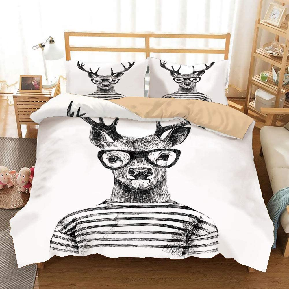 LUNASVT Dressed up Reindeer Headed Human Hipster Style with Glasses Stripped Shirt College Dorm Room Decor Decorative Custom Design 3 PC Duvet Cover Set Twin/Twin Extra Long