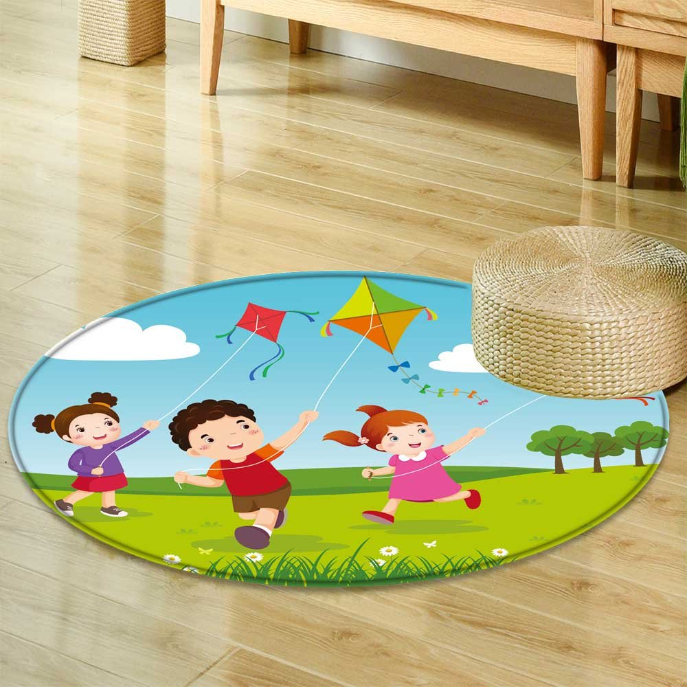 Amazon Round Area Rug Carpet Vector Illustration Of Three Kids Flying Kites In The Park Living Dining Room Bedroom Hallway Office 35