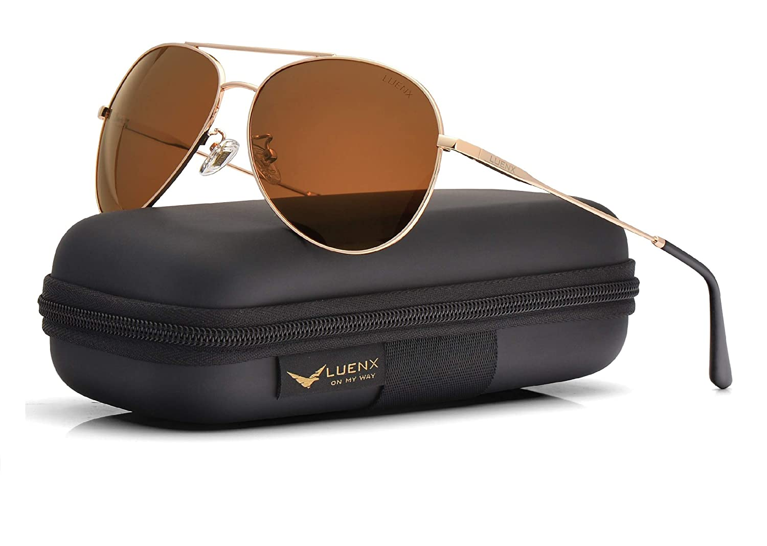 a22bc368fed5 Amazon.com  LUENX Men Women Aviator Sunglasses Polarized Brown Lens Metal  Frame UV 400 59MM Driving Fashion with Accessories  Sports   Outdoors
