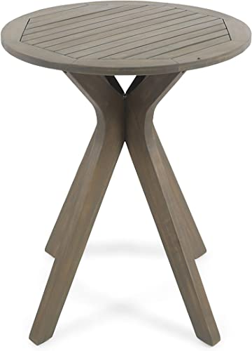 Great Deal Furniture Marian Outdoor Round Acacia Wood Bistro Table