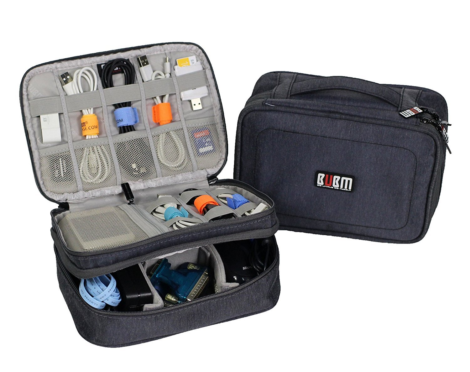 BUBM Electronics Travel Organizer Storage Bag for Accessories Cable Cord (M, Blue)