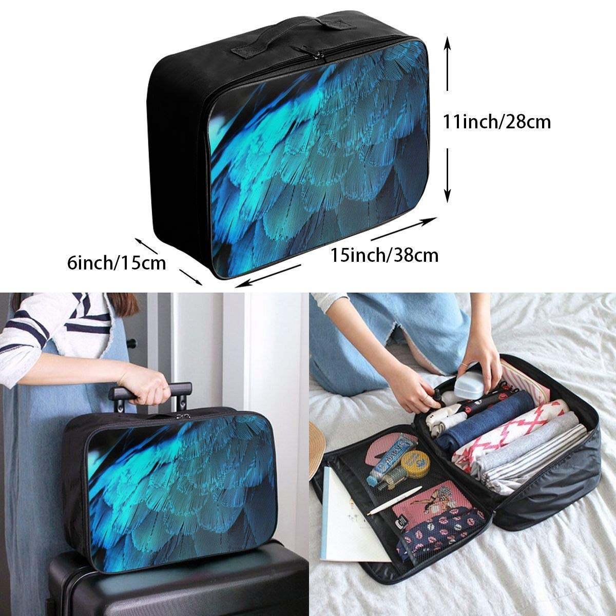Lightweight Large Capacity Portable Duffel Bag for Men /& Women Blue Feathers Travel Duffel Bag Backpack JTRVW Luggage Bags for Travel