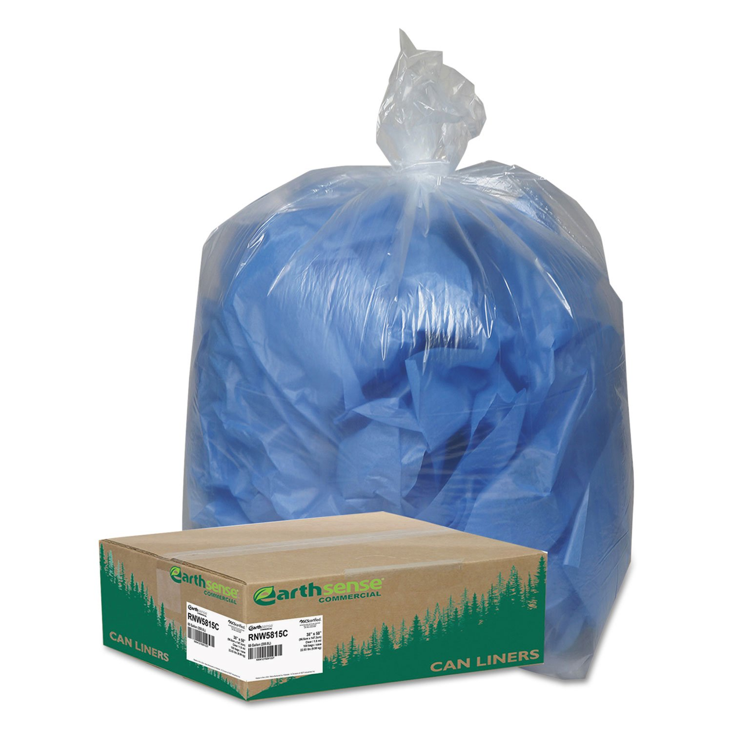 Earthsense Clear Recycled Can Liners, 55-60 gallons, 1.5mil, Clear  (Case of 100) by Webster (Image #2)