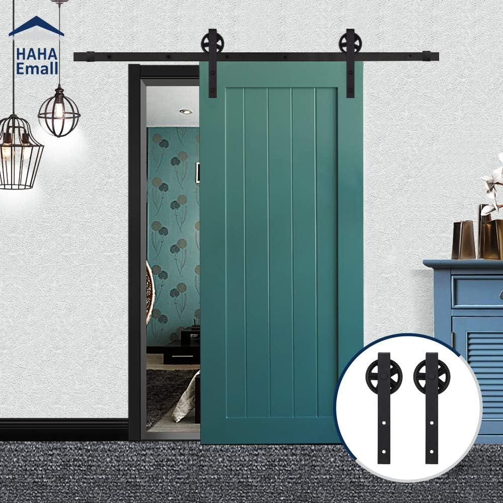 Hahaemall - Juego de rieles de acero para puerta corredera con ruedas grandes, color negro: Amazon.es: Bricolaje y herramientas