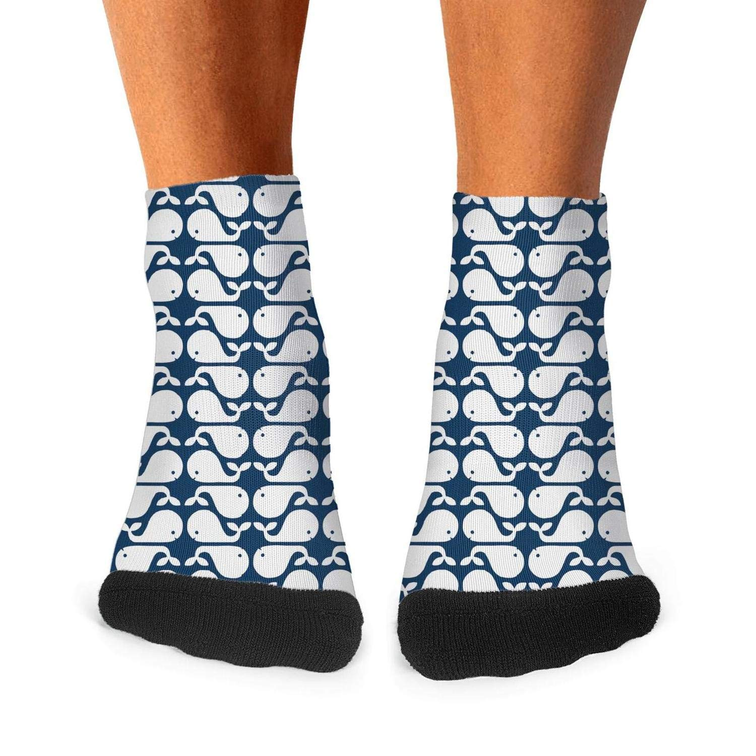 Mens Athletic Low Cut Ankle Sock Cute Whale Navy And White Pattern Short Fit Sock