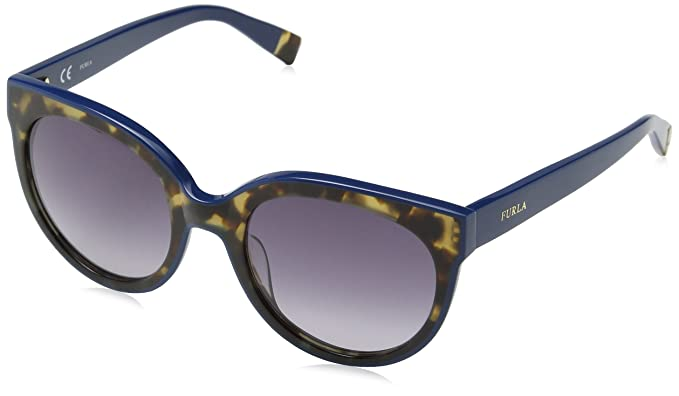 6eb373da1644 Furla Eyewear Women's SFU070 Sunglasses, Shiny Full Blue, One Size ...