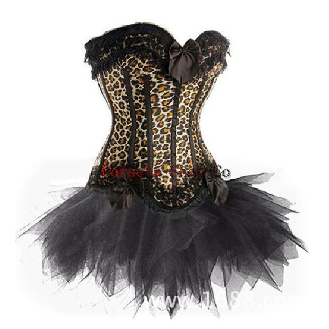 LFFW Fashion Leopard Basque with Tutu Lace Trim Corset Skirt (Plus Size)