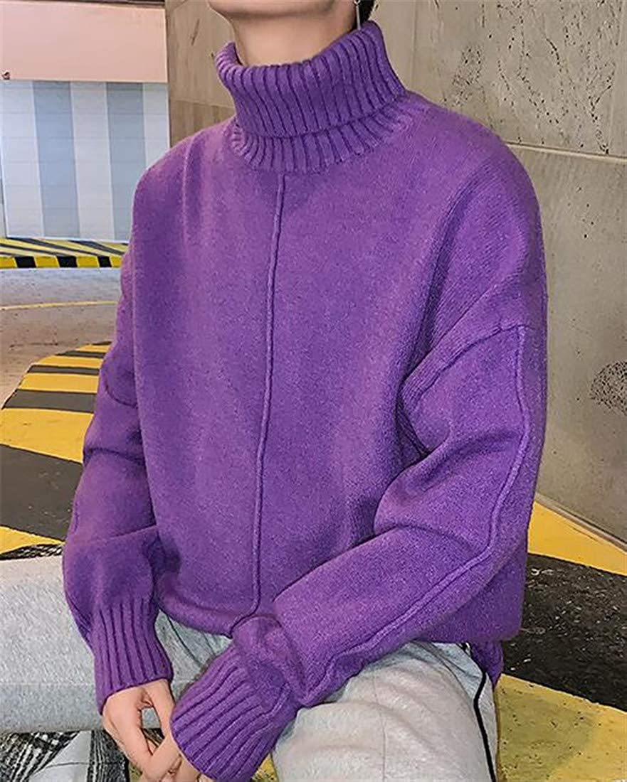Etecredpow Mens Casual Pure Color Knit High Collar Pullover Jumper Sweaters