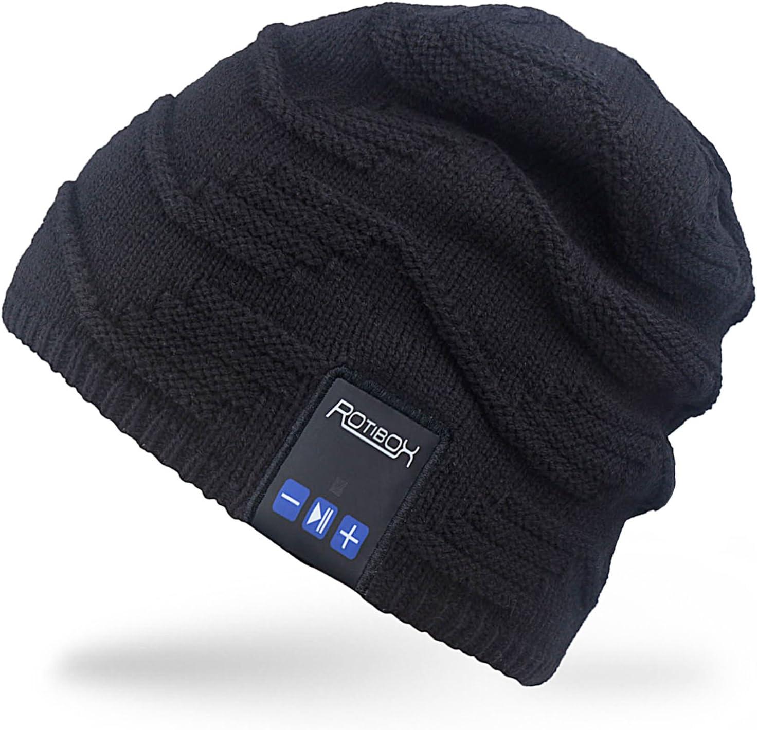 Al aire libre Rotibox Bluetooth Beanie Hat - música gorro Pom Pom W/Bluetooth estéreo altavoz auriculares, micrófono, manos libres y batería recargable - Compatible con teléfonos móviles