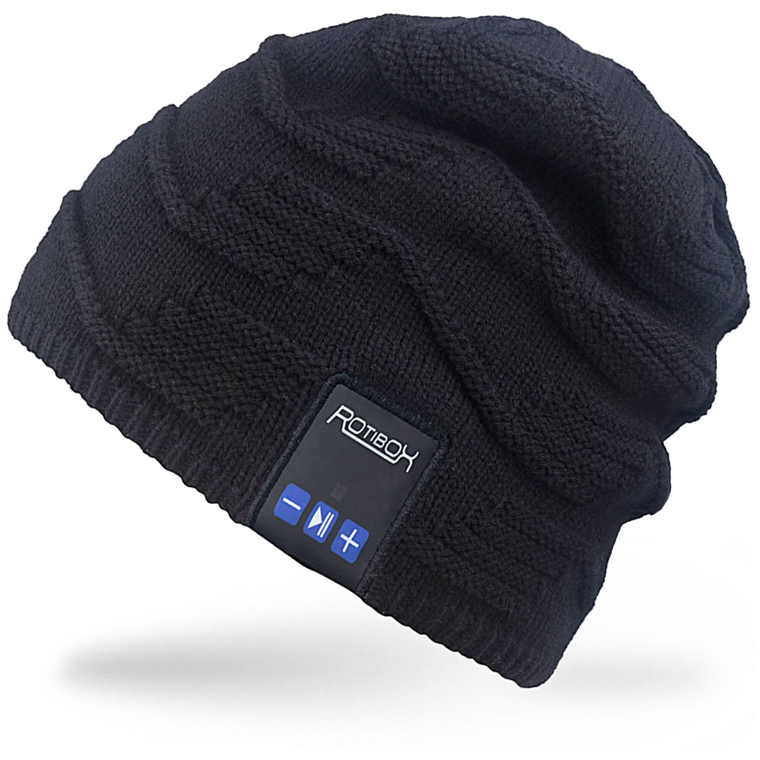 Rotibox Bluetooth Beanie Hat Winter Stylish Cap with Wireless Bluetooth Headphone Headset Earphone Music Audio Hands-free Phone Call for Outdoor Sports Fitness Exercise Workout Skiing Snowboard