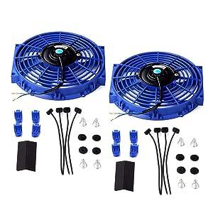 "Set of 2 Universal 10"" Slim Fan Push Pull Electric Radiator Cooling 12V Mount Kit Blue"