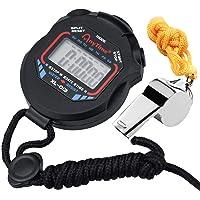 Zaleonline Digitale Sport Stopwatch Timer met Datumklok Extra Grote Display met Jumbo Nummers Fluitje voor Marathon…
