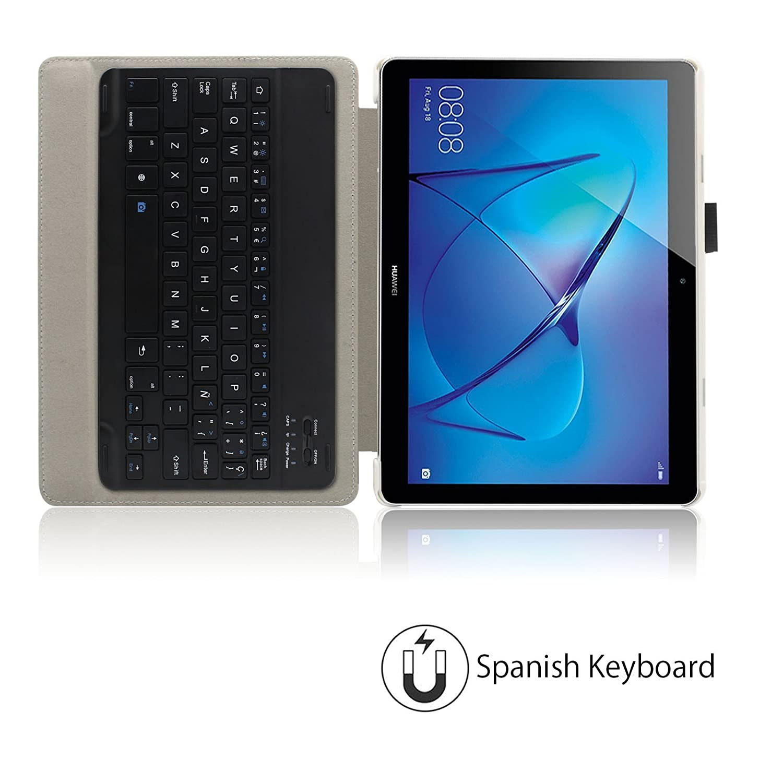 Infiland Huawei Mediapad T3 10 Teclado Funda, Ultra Fino Slim Keyboard Case con Magnético Desmontable Teclado Bluetooth Inalámbrico para Huawei Mediapad T3 ...