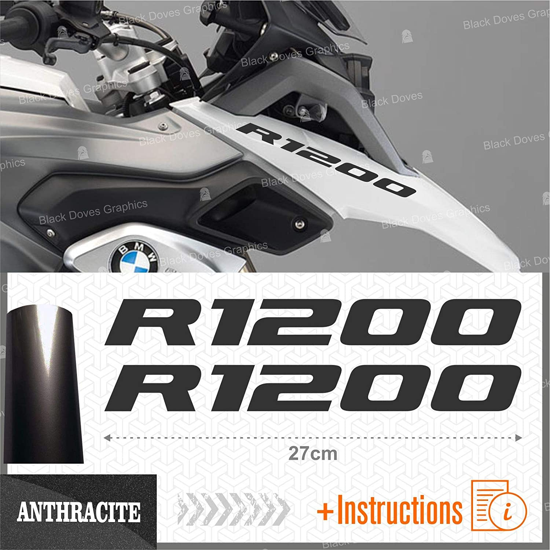 2pcs Adhesivo R1200 Compatible con Motorrad R1200GS Adventure R 1250 GS Moto Negro