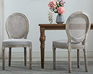 CIMOTA French Dining Chairs Set of 2, Upholstered Vintage Farmhouse Chair with Rattan Back Distressed Wood, Mid Century Fabric Side Chairs for Dining Room Bedroom Restaurant, Beige