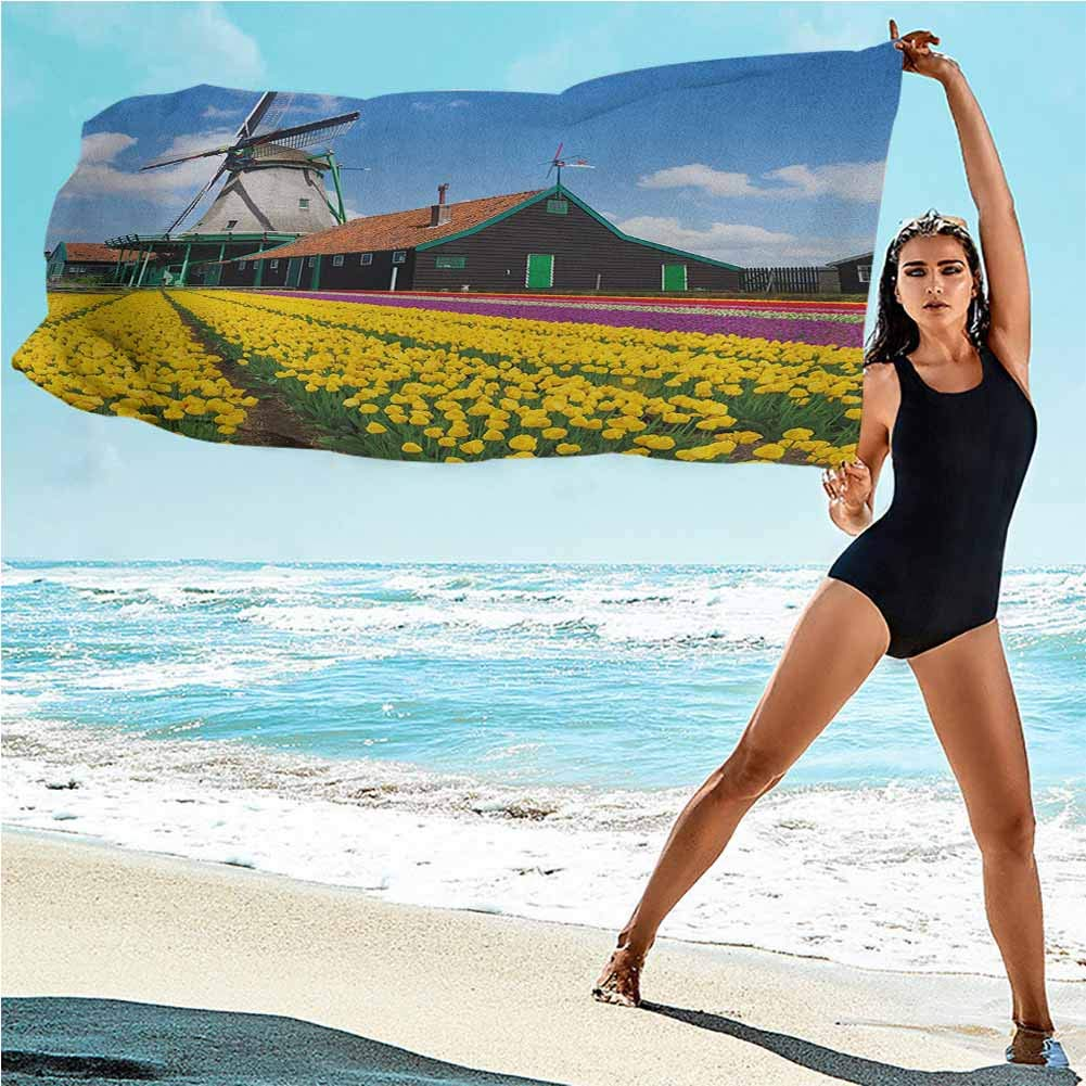 Gene Washington Windmill Sweat Towels for Gym Rustic Dutch Landscape with Colorful Yellow Tulips in The European Countryside Quick Dry Swim Large Bath Towels 43.5 Multicolor