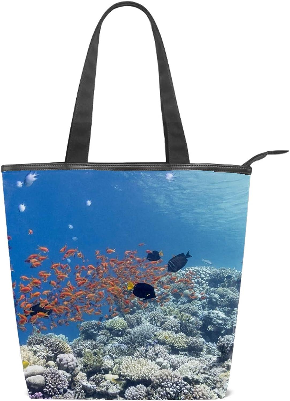 Canvas Bag,The Underwater World/Canvas Hobo Bag for Women Simple Casual Tote Bag Crossbody Bags Shoulder Bag Work Bag