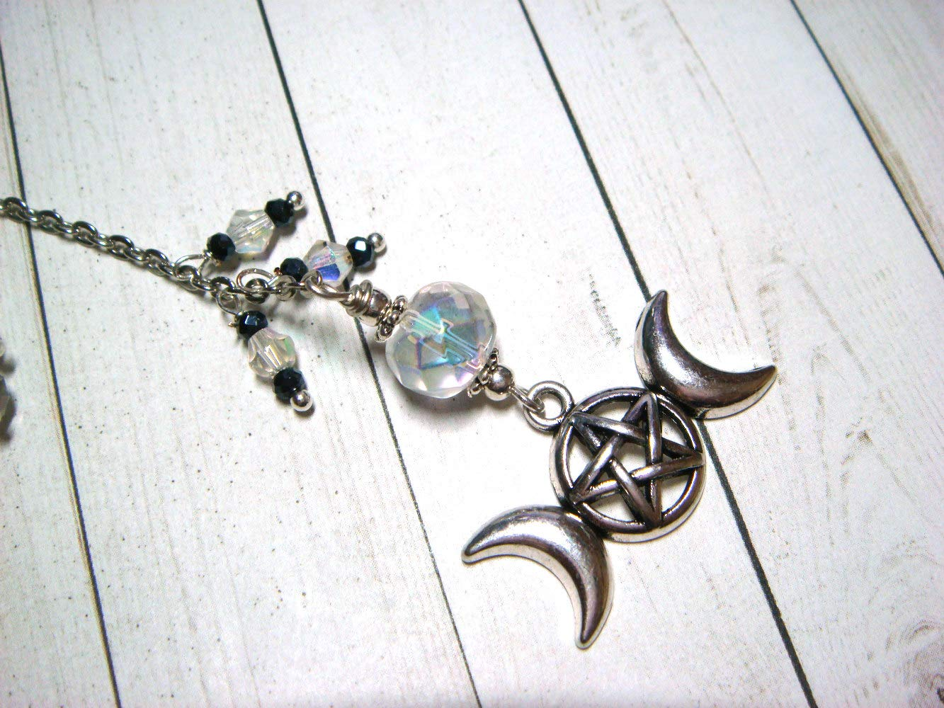 Rear View Mirror Ornament Triple Moon Goddess car accessory Wiccan Witchy accessory Pagan charm truck accessory sun catcher Witchcraft