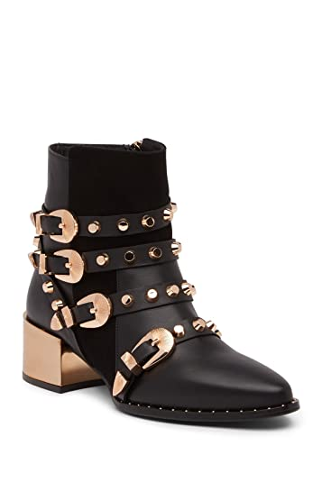 bf9a750a00056 Ivy Kirzhner Circuit Black Leather Gold Buckle Strappy Studded Pointed Toe  Boot (6)