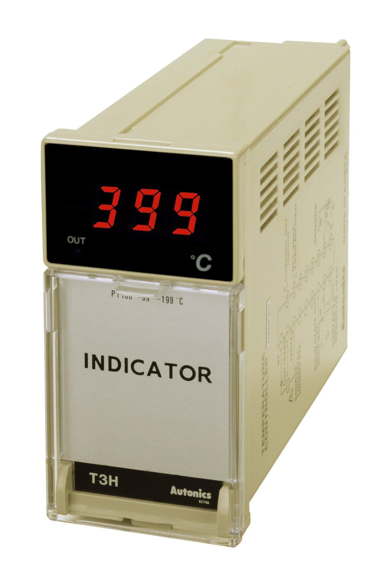 Autonics T3HI-N3NKAC Temperature Indicator, W48xH96mm, K Thermocouple Input, 999 C, 110 & 220 VAC