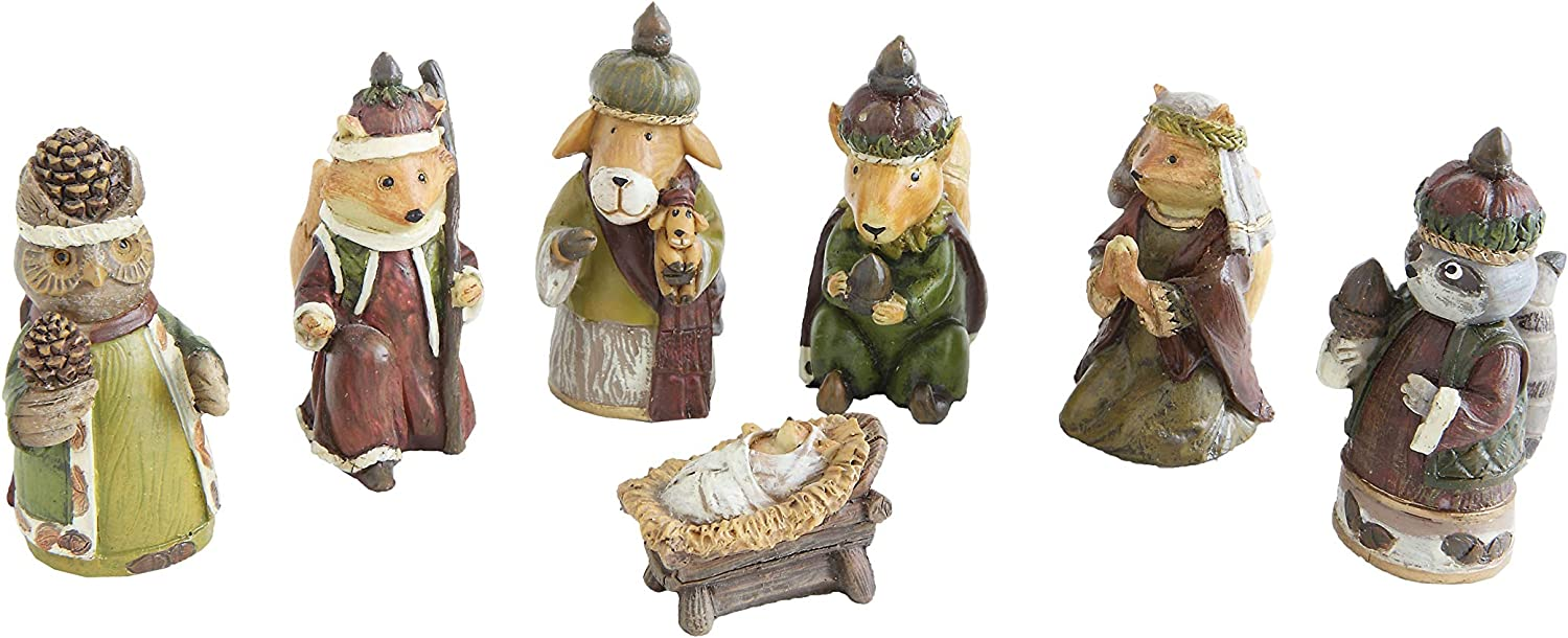 Brown Creative Co-Op Resin Forest Animals Nativity Set of 7 Pieces