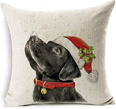 Christmas Dog Reindeer Linen Cushion Cover Throw Pillow Case Car Sofa Home Decor
