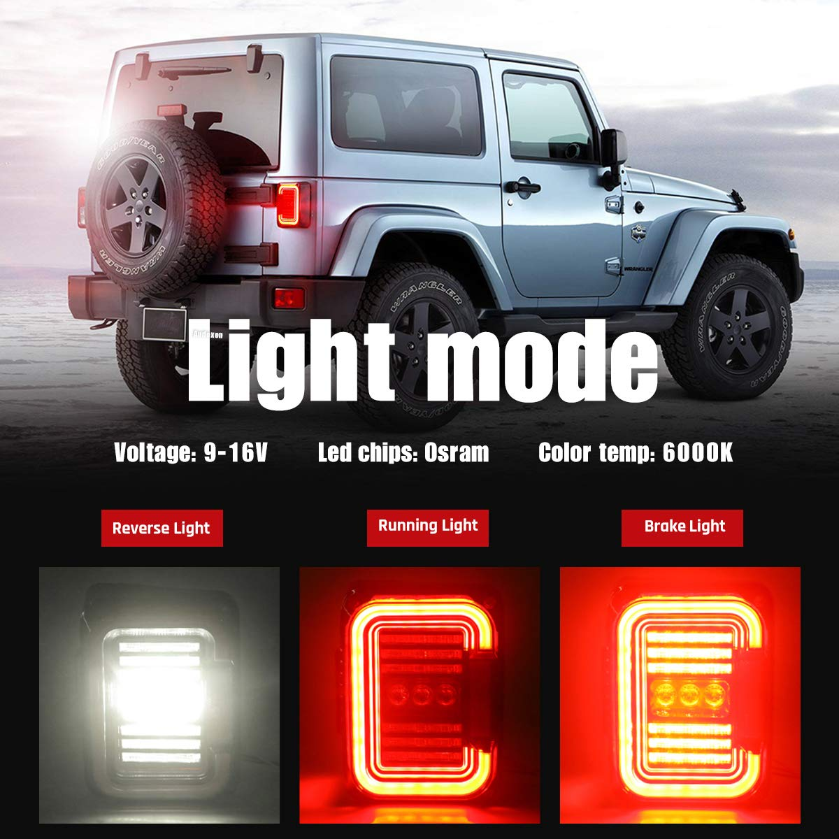 2 PCS Built-in EMC 20W Reverse Lights AUDEXEN LED Tail Lights for Jeep Wrangler JK JKU 2007-2018 UniqueC Shaped Design Clear Lens DOT Compliant